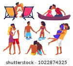 couples in love on summer... | Shutterstock .eps vector #1022874325