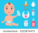 cute boy with one teeth and set ... | Shutterstock .eps vector #1022874472