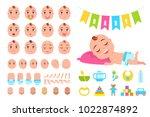 toddler infant in diaper sleeps ... | Shutterstock .eps vector #1022874892