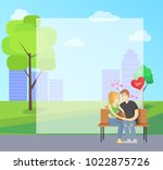 couple in love sits on bench in ... | Shutterstock .eps vector #1022875726