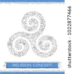 line religion icons are grouped ... | Shutterstock .eps vector #1022877466