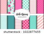 set of cute seamless hello... | Shutterstock .eps vector #1022877655