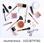 makeup brush and decorative... | Shutterstock . vector #1022879782