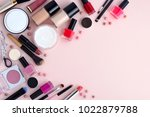 makeup brush and decorative... | Shutterstock . vector #1022879788