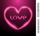 heart design with pink neon... | Shutterstock .eps vector #1022885896