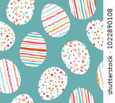 white easter eggs seamless... | Shutterstock .eps vector #1022890108