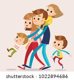 big happy family with kids | Shutterstock .eps vector #1022894686