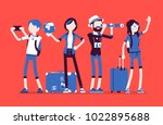 travelers group with luggage.... | Shutterstock .eps vector #1022895688