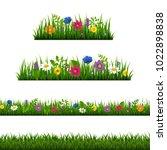 grass border with flower... | Shutterstock .eps vector #1022898838