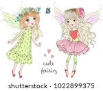 Stock vector two hand drawn beautiful cute little fairies girls with a butterfly vector illustration 1022899375