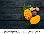 mango and passion fruit. fresh... | Shutterstock . vector #1022912245