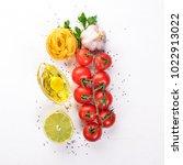 dry pasta tagliatelle ...   Shutterstock . vector #1022913022
