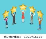 five stars rating flat... | Shutterstock .eps vector #1022916196