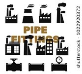 pipe fittings vector icons set. ... | Shutterstock .eps vector #1022920372