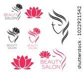 beautiful woman vector logo... | Shutterstock .eps vector #1022921542