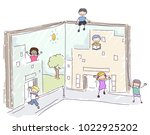 illustration of stickman kids... | Shutterstock .eps vector #1022925202