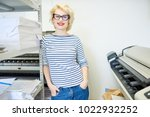 portrait of blonde young woman... | Shutterstock . vector #1022932252