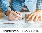architect or engineer working... | Shutterstock . vector #1022948746
