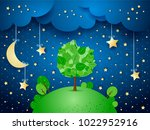 surreal night with hanging... | Shutterstock .eps vector #1022952916