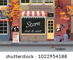 small shop on the old city... | Shutterstock .eps vector #1022954188