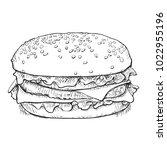 hand drawn cheeseburger or... | Shutterstock .eps vector #1022955196