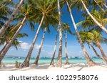 beautiful ladscape of boracay... | Shutterstock . vector #1022958076