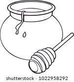 a glass pot full of honey and... | Shutterstock .eps vector #1022958292