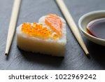 sushi heart macro seafood... | Shutterstock . vector #1022969242