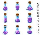 set of cartoon vector purple... | Shutterstock .eps vector #1022969605