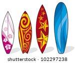set of surfboards  | Shutterstock .eps vector #102297238