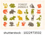 collection of flat cute animal... | Shutterstock . vector #1022973532