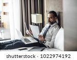 handsome caucasian middle aged... | Shutterstock . vector #1022974192
