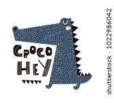cute cartoon crocodile print.... | Shutterstock .eps vector #1022986042