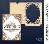die laser cut wedding card... | Shutterstock .eps vector #1022995738