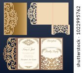 die laser cut wedding card... | Shutterstock .eps vector #1022995762