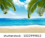 palm leaves on beach. vector... | Shutterstock .eps vector #1022999812