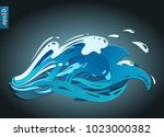 stylized paper ocean waves with ... | Shutterstock .eps vector #1023000382
