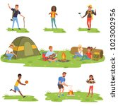 camper people set  tourists... | Shutterstock .eps vector #1023002956