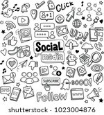 social media vector doodles. | Shutterstock .eps vector #1023004876
