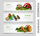 three horizontal camping...   Shutterstock .eps vector #1023006316