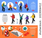 alpinists isometric banners... | Shutterstock .eps vector #1023006412