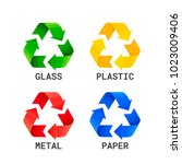 different colored recycle waste ... | Shutterstock .eps vector #1023009406