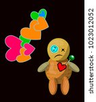 cartoon voodoo doll character... | Shutterstock .eps vector #1023012052