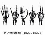 skeleton hand gestures set.... | Shutterstock .eps vector #1023015376