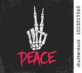 peace gesture sign print with...   Shutterstock .eps vector #1023015565
