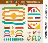 hand draw set of retro ribbons... | Shutterstock .eps vector #102301912
