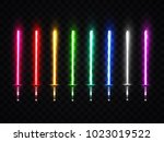 neon light swords set. colorful ... | Shutterstock .eps vector #1023019522