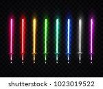 neon light swords set. colorful ... | Shutterstock .eps vector #1023019522