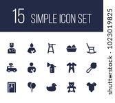 set of 15 kid icons set.... | Shutterstock .eps vector #1023019825