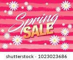 spring sale banner template... | Shutterstock .eps vector #1023023686